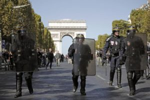 epa07858701 French riot Police secure a street near the Champs Elysees during the the 'Gilets Jaunes' (Yellow Vests) movement 'Act 45' demonstration (the 45th consecutive national protest on a Saturday) in Paris, France, 21 September 2019. The so-called 'gilets jaunes' (yellow vests) is a grassroots protest movement with supporters from a wide span of the political spectrum, that originally started with protest across the country in late 2018 against high fuel prices. EPA/YOAN VALAT